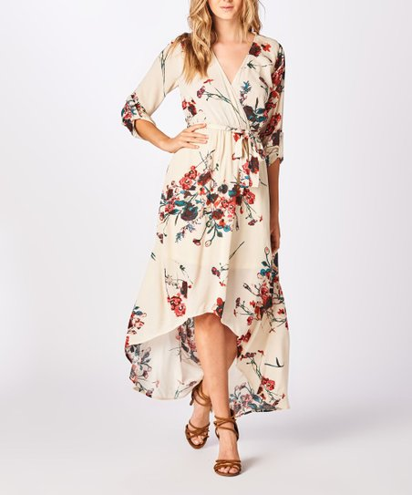 097e0cd7edb staccato Ivory Floral Tie-Waist Surplice Hi-Low Maxi Dress