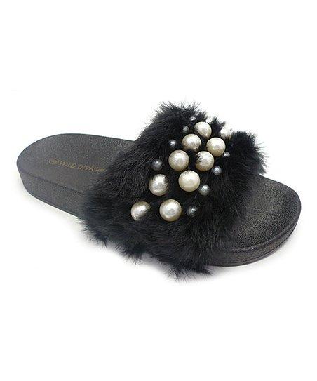 Black Embellished Matty Slide - Women