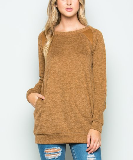 Acting Pro Mocha Elbow Patch Long Sleeve Sweater Women Zulily