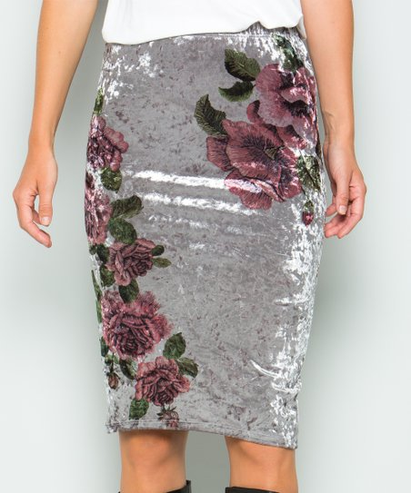 6e1d79aded Acting Pro Gray Crushed Velvet Floral Pencil Skirt - Women | Zulily