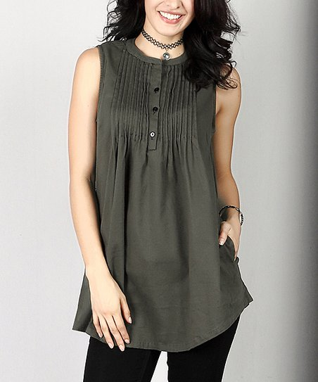 53a2411c090d love this product Olive Cotton Twill Sleeveless Notch Neck Pin-Tuck Tunic -  Plus