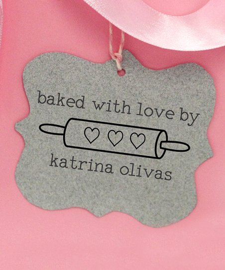 1f0141414f83 Stamp Out Online Rolling Pin 'Baked With Love' Personalized Stamp