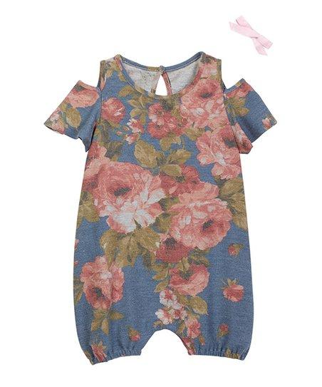 450e43db1213 Wonder Me Blue   Pink Floral Cold-Shoulder Romper - Infant