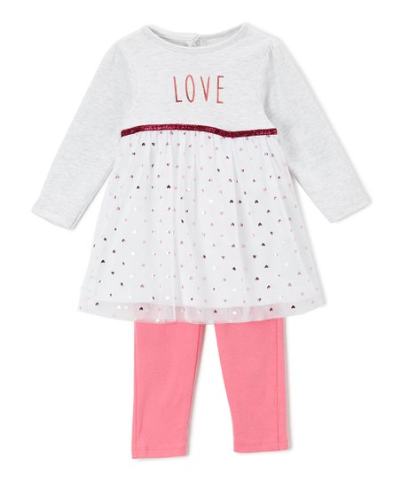 5b8d1a3f8 love this product White & Pink Glitter Hearts Tulle Dress & Leggings Set -  Infant