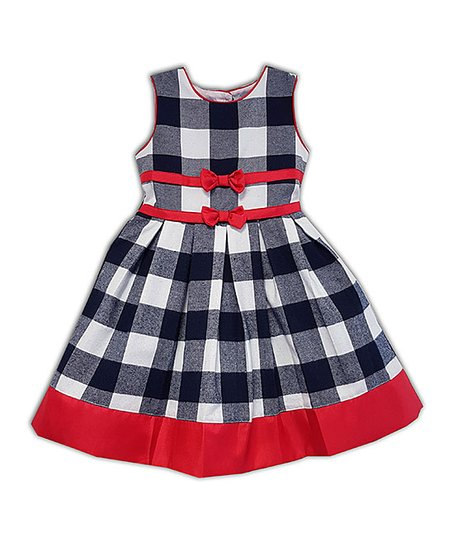 cc5e3285faba51 love this product Navy Buffalo Check Pleated A-Line Dress
