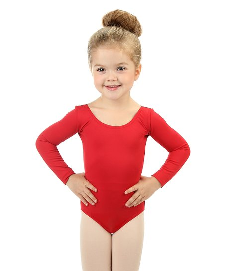 050157176d492 love this product Red Long-Sleeve Leotard - Toddler & Girls