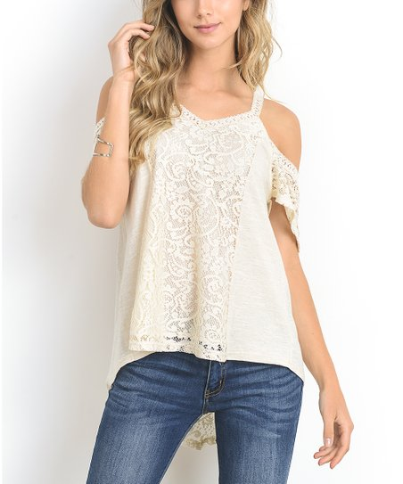 255e9ef86 Doe & Rae Oatmeal Lace Cold-Shoulder Top | Zulily