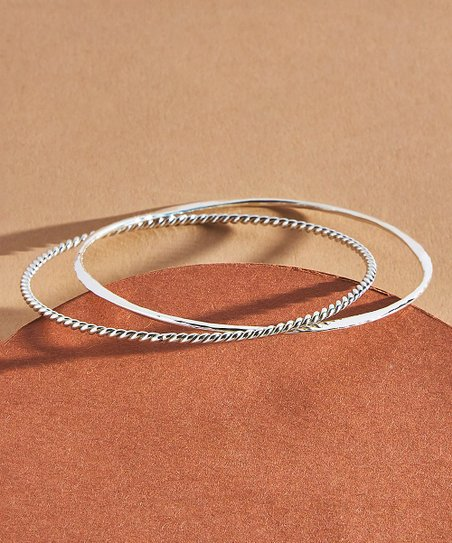 4e677532e Urban Silver Sterling Silver Twist & Hammered Entwined Bangle | Zulily