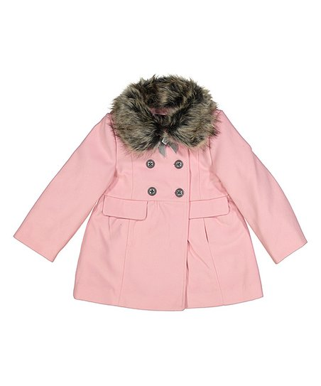 ad84b820a682 Jessica Simpson Collection Pink Faux Fur-Accent Peacoat - Girls
