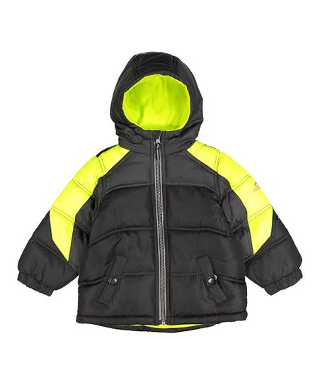 537a25e5213d Pacific Trail Black   Yellow Color Block Puffer Jacket - Toddler ...