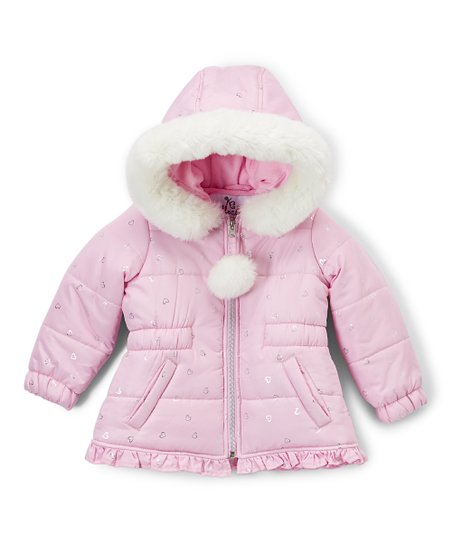 3179223dc KC Collections Light Pink Hearts Puffer Jacket - Infant   Toddler ...