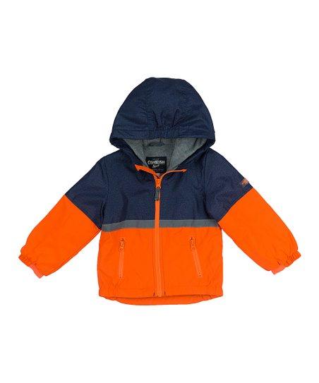 0fc6bd57e486 OshKosh Bgosh Orange   Navy Color Block Hooded Jacket - Infant
