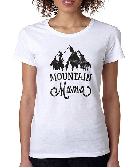 a442a410 SignatureTshirts White Mountain Mama Crewneck Tee - Plus | Zulily