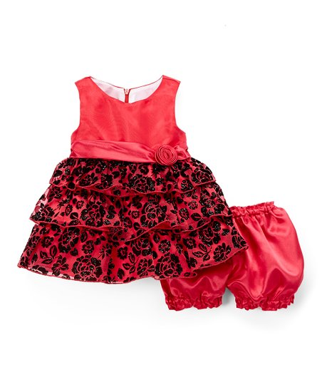 98d590fd9d3b love this product Holiday Red Floral Glitter Puff Holiday A-Line Dress