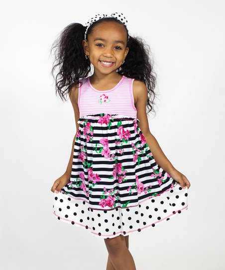 45e5ef70aef9 Pink Vanilla Black & Pink Floral Babydoll Dress - Girls | Zulily
