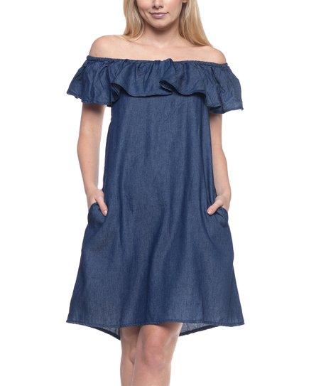 a5c5a7ece90a Be Girl Clothing Dark Indigo Ruffle Denim Off-Shoulder Dress - Women ...