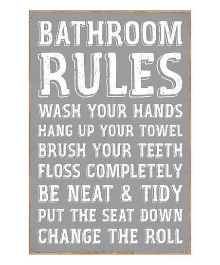 Sixtrees Gray White Bathroom Rules Wall Decor Best Price And Reviews Zulily