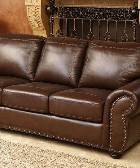 Denver Top Grain Leather Sofa   Zulily