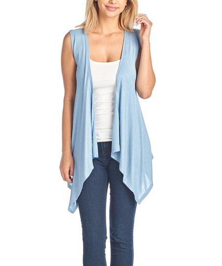 d8825584d Shore Trendz Light Blue Sleeveless Open Cardigan - Women   Plus