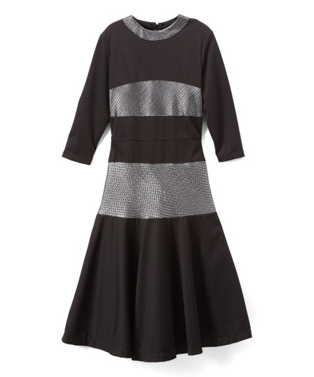 Tikie Black Silver Metallic Maxi Dress Girls Zulily