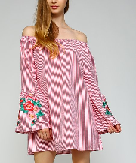 f31f8256c123 love this product Pink Pinstripe Off-Shoulder Shift Dress - Plus