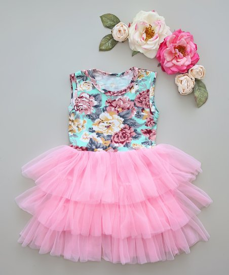4d4aa7f3c love this product Light Pink & Aqua Floral Tutu Dress - Infant, Toddler &  Girls