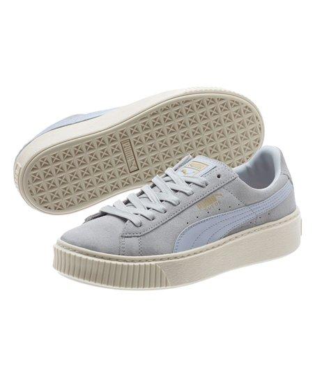 acb2c0193f6 PUMA Halogen Blue   Whisper White Suede Platform Core Sneaker ...