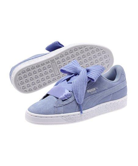 841cc7bb902b PUMA Lavender Lustre   White Suede Heart Jr Sneaker - Girls