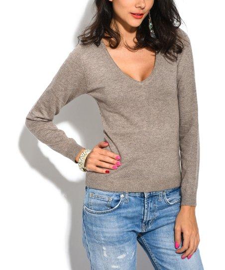 William De Faye Brown Cashmere Blend V Neck Pullover Sweater Women