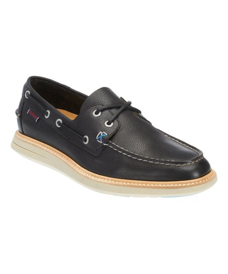 6b76263a8ccf5 Sebago Black Leather Smyth Two Eye Boat Shoe - Men | Zulily