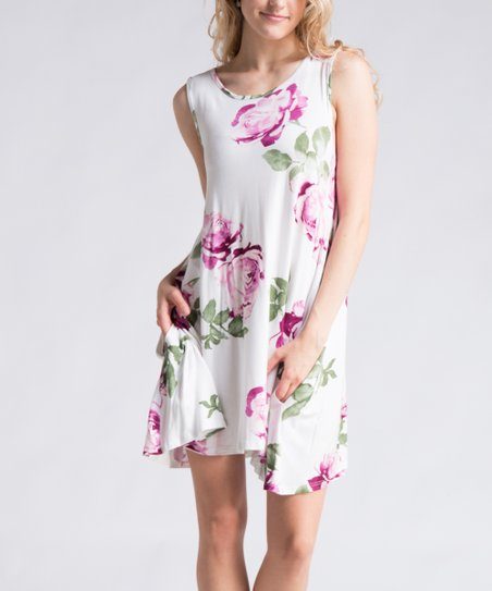 a59374e91a7d love this product Off-White   Purple Floral Swing Dress - Women