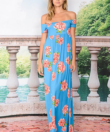 1c90260ad022 love this product Turquoise   Red Floral Off-Shoulder Maxi Dress