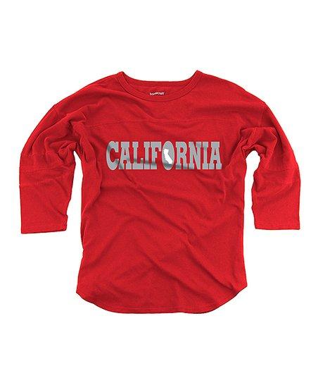 For Three Quarters Of California >> Boxercraft Red California Vintage Wash Three Quarter Sleeve Tee