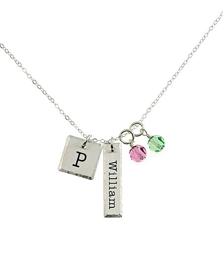8e44b221aeefc AJ's Collection Sterling Silver Square Initial Necklace With Swarovski®  Crystals