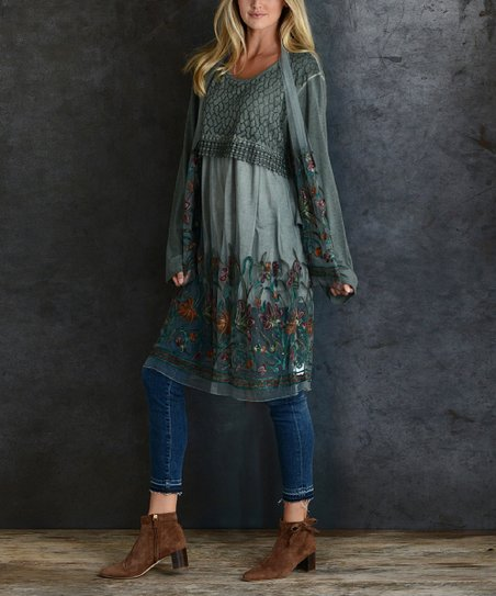 e8c44cc2e57 love this product Green Floral-Embroidery Layered Tunic Dress & Scarf -  Women