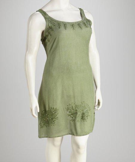 Raya Sun Sage Acid Wash Plus-Size Dress