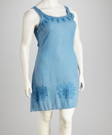 Raya Sun Sky Acid Wash Plus-Size Dress