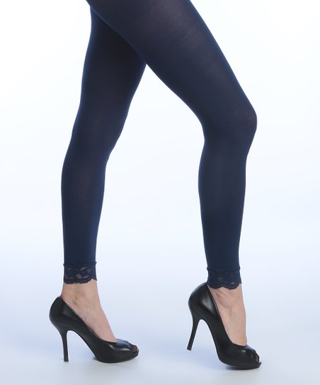 db9a98707437a Goldstone Hosiery Inc, CO. Navy Lace-Trim Six-Pair Footless Tights ...