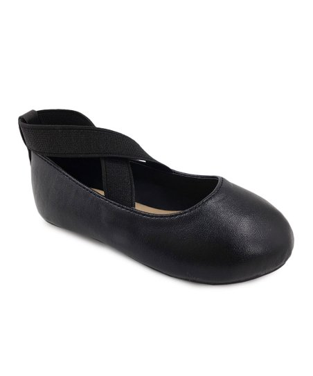 Ositos Shoes Black Cross-Strap Ballet