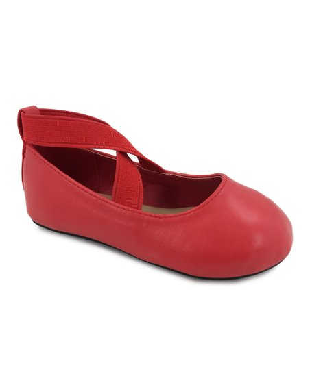 Ositos Shoes Red Cross-Strap Ballet
