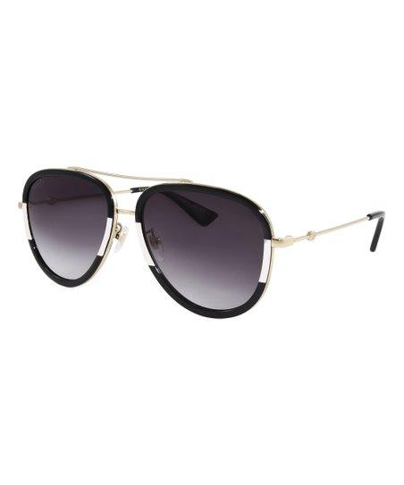 9bd979a8e2 Gucci Black   Ivory Aviator Sunglasses