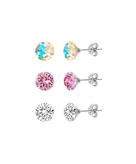 Love This Product Pink Aurora Borealis Stud Earrings Set With Swarovski Crystals