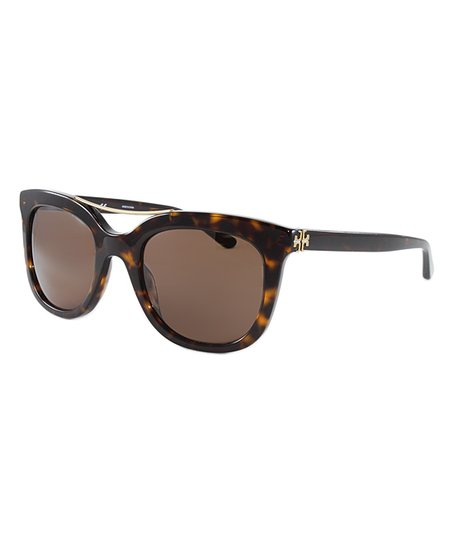 f6882240a4ab Tory Burch Brown Tortoise Bridge Square Oversize Sunglasses | Zulily