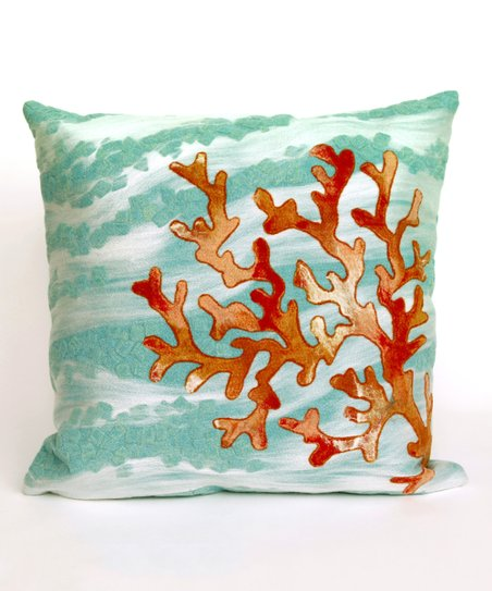 Aqua Coral Wave Indoor Outdoor Throw Pillow Zulily