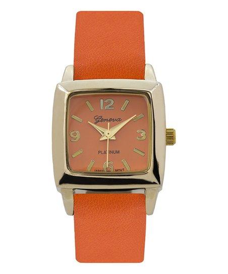 74d1df579 Geneva Platinum Orange & Gold Square Faux Leather-Strap Watch | Zulily