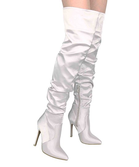 176d505badc9 Athena Footwear Silver Over-the-Knee Boot - Women   Zulily