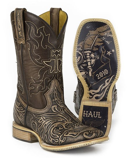 c7c080fa020 Tin Haul Brown Skull Leather Cowboy Boot - Men