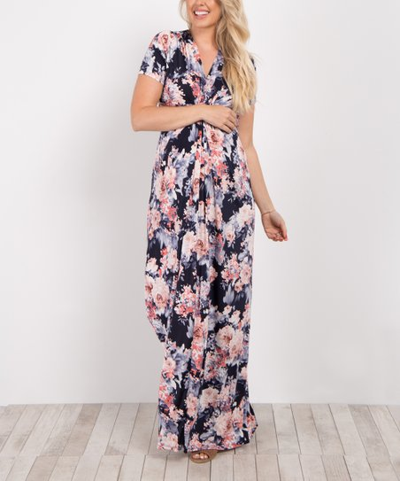 b39ee82937fd1 love this product PinkBlush Navy Blue Floral V-Neck Knot Front Maxi Dress