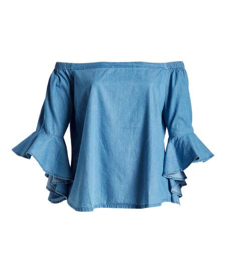 41130e3f068 Fashion Web Faded Blue Wash Bell-Sleeve Denim Off-Shoulder Top ...