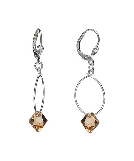 6f5e89ef2 Dont AsK Light Brown Hoop Drop Earrings With Swarovski® Crystals ...